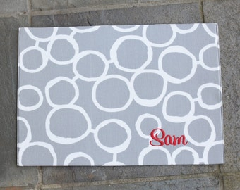 Grey Pet Placemat || Personalized Puppy Gift || Waterproof Custom Bowl Mat || Dog Feeding Station || Stylish Grey Mat by Three Spoiled Dogs