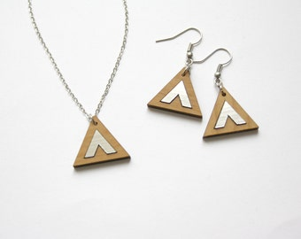 Jewelry set, wood earings and necklace, geometric, chic graphic, minimal modern style, chevron detail, birthday gift, made in France, Paris