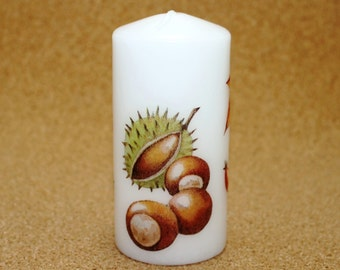 Candle chestnut leaves Apple autumn berries white stained Stumpe block candle Eisbaerchenmama
