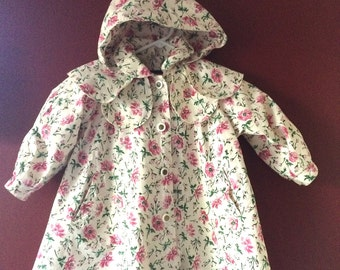 Vintage Girls Rothschild Spring Coat, Size 2T, Pink and Green Floral Print,Lined