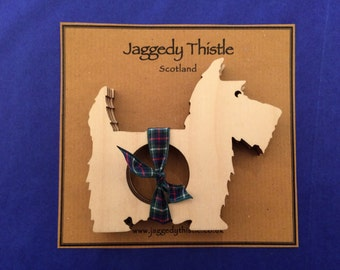Wooden Scottie Dog Napkin Rings (Set of 4)