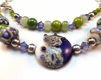 Lampwork necklace – Green and Blue Necklace – Lampwork pendant