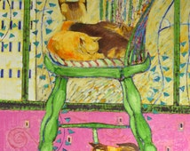 Large oil painting of kitties on green chair, on stretched 30x40 canvas, texture, green, magenta, yellow, orange, blue