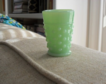 Miniature Jadeite Hobnail Pitcher and Four Glasses Tumblers Perfect Condition
