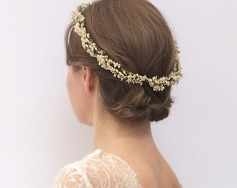 Flower crown, bridal flower crown, dried flower crown, boho veil, flower circlet, flower halo, flower crown wedding, babys breath crown,