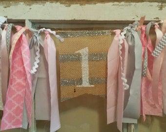 Pink Gray Birthday, Pink Gray Banner, Pink Gray Party, Pink Gray Decor, Pink Gray Garland, Pink Gray Bunting, Pink Gray Sign, Pink Grey Girl
