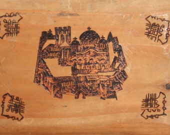 Vintage Hand  Made Pyrography Wood Plaque Castle Church