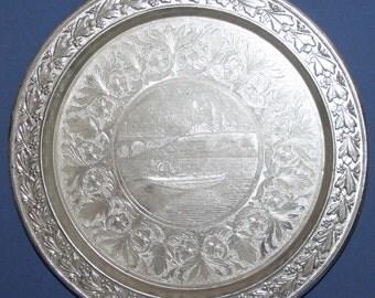 Vintage Ornate Floral Platter Tray
