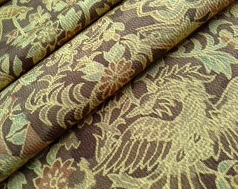 Silk Kimono Fabric with bird, phoenix and flower - by the yard