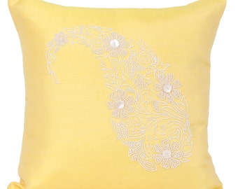 Yellow Paisley Decorative Pillow Cover Yellow White Beaded Accent Pillow Canary Ywellow Beaded Throw 14x14 16x16 18x18 20x20