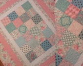 "Quilt throw English Rose garden cottage chic floral quilt blanket  38"" x 46"" pink and white"