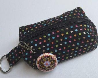Coin Purse Key Chain - Zipper Pouch - Coin Purse - Black Polka Dots