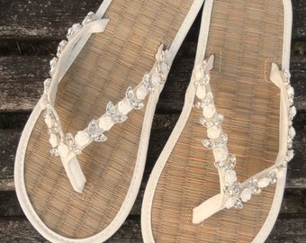 Ladies Wedding Flip Flops Hand Decorated with Roses and Rhinestone
