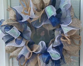 Everyday Wreath, Jute Mesh Wreath, Everyday Jute Wreath, Rustic Wreath, Mesh Wreath, Country Wreath, Deco Mesh Wreath, Navy & Jute Wreath