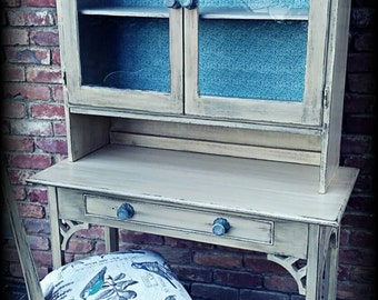Vintage desk, hutch and chair, pale creamy yellow desk and chair,  distressed desk, rustic desk, shabby chic desk, chippy desk, painted desk