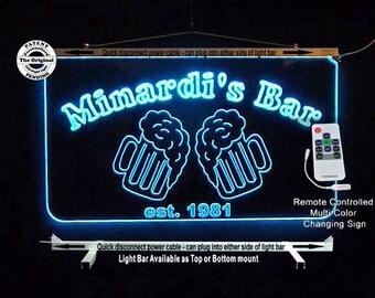 Custom Edge Lit Sign, Personalized Bar Sign, Man Cave, Garage, Beer Mugs