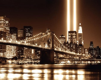 Tribute in Lights - New York Skyline Stretched Canvas Movie Poster Choice of sizes available.