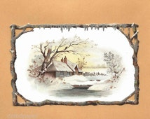 Antique Victorian Diecut Christmas Greeting Card Winter Snowy Cottage Scene and Wood Frame Silver Ice Trim Chromolithograph Scrap ~ 5370Pb