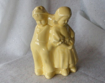 "Vintage Yellow Dutch Boy and Girl Pottery Vase with Overall Crazing 7.5"" Tall Figural Planter Home and Garden Decor Pastel ~ 5826d"