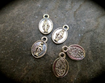 Miraculous Medal Charms package of 5 tiny 1/2 inch charms double sided Mother Mary Virgin Mary charms Religious charms