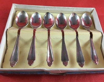 Boxed Set of Six Silver Plated Coffee Spoons in Pricilla Pattern