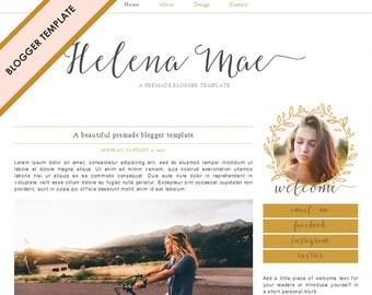 Blogger Template - Premade Blog Design - INSTANT DOWNLOAD - Helena Mae Theme