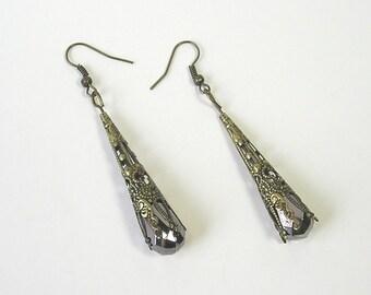 Chic Silver Crystal Dangle Earrings