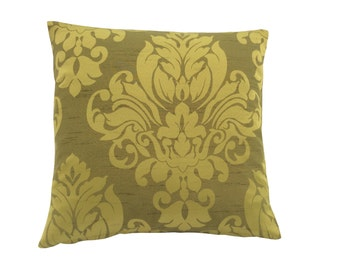 Stunning hand made lime sage green cushion cover/ pillow case Damask design fabric faux silk Home,Kitchen,Sofa,Lounge,Bedroom,Living room