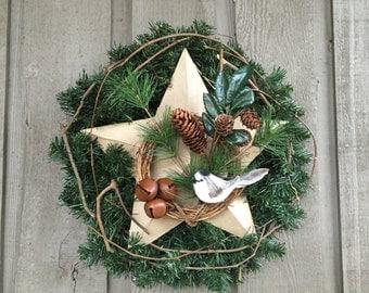 Wreath/ star wreath/ Christmas wreath/ winter wreath/ wreath/ rustic wreath/ woodland wreath/ jingle bell wreath/ bird wreath/ handmade