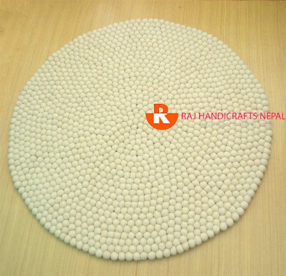 Off white Beige felt ball rug Pom Pom rug by Myfeltballrugs