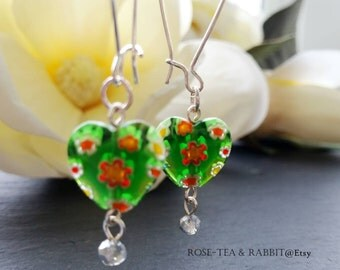 Drop/Dangle Earrings - Kelly Green Heart Shaped Millefiori Glass Beads - Silver Lined Faceted Crystal Bead Detail - Silver Plated Ear Wires