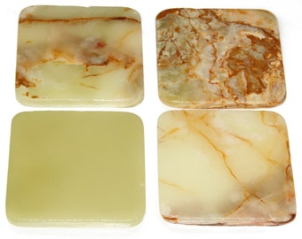 4 inch Green Onyx Marble Stone Drink Coasters,1 set of four