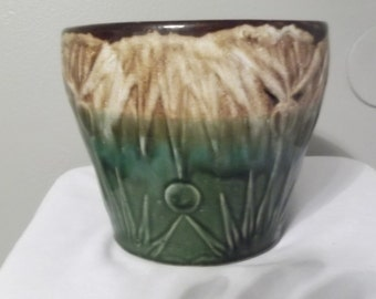 Green and Brown Glazed Pottery Planter-Pot-Sunburst-Mountains-8""