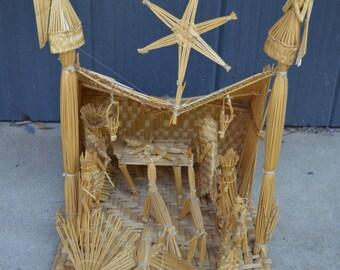 Vintage Mexican Folk Art Straw Nativity