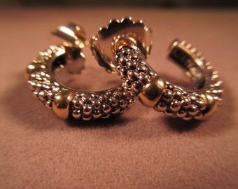 Trendy 18K Gold Sterling Silver Hoop Earrings