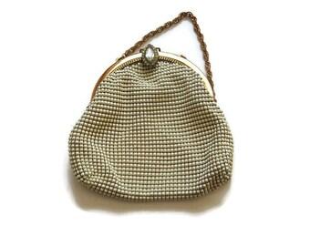 whiting and davis - whiting davis - beaded handbag - vintage handbag - whiting and davis mesh purse  - white beaded purse -