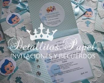 Baptism invitations, Bubble Invitations, Bubble Guppies Invitations, Bubble Guppies Baptisn Invitation, Bubble guppies Birthday invitation
