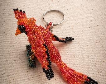 Cardinal Keychain, Beaded