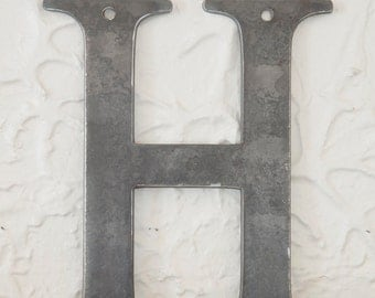 "Metal Letters H Sign 8x7"", modern Raw Metal, Recycled Welded Steel, CNC Plasma"