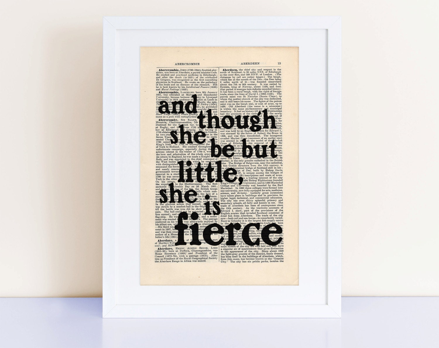 She Is Fierce William Shakespeare Quote Print On An Antique