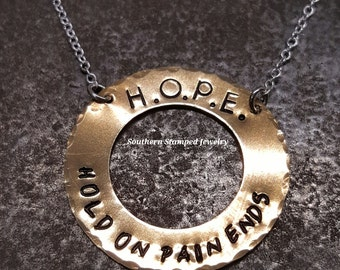 H.O.P.E. Brass Washer Necklace Hold On Pain Ends