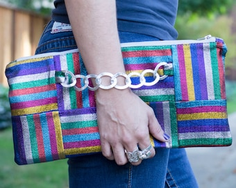Large Colorful Clutch / Zippered Clutch / Party clutch