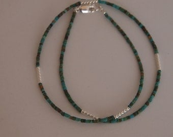 Delicate Minimalist Necklace in Sterling Silver and Turquoise