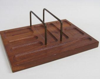 Vintage Dark Wood Mid Century Modern Desk Top Organizer for Home or Office