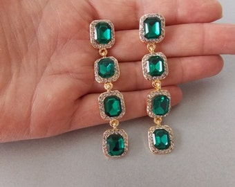 Emerald Green and Crystal Four Tier Drop Statement Prom Pageant Wedding Earrings
