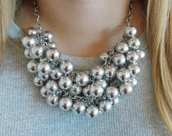 Silver Beaded Bauble Statement Necklace -UK SHOP