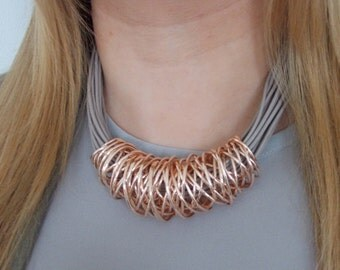 Rose Gold and Taupe Multi-Cord Magnetic Necklace
