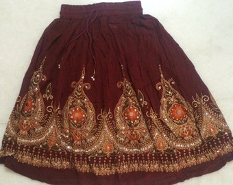 S Short Indian dress with elastic waist. Sequin shining prom dress. Embroidered skirts from India. thanksgiving gift, Best selling item