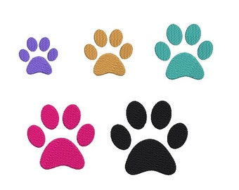 Paw Prints Embroidery Design in 5 Sizes - INSTANT DOWNLOAD