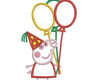 Peppa with Balloons Applique Embroidery Design in 4 Sizes - INSTANT DOWNLOAD